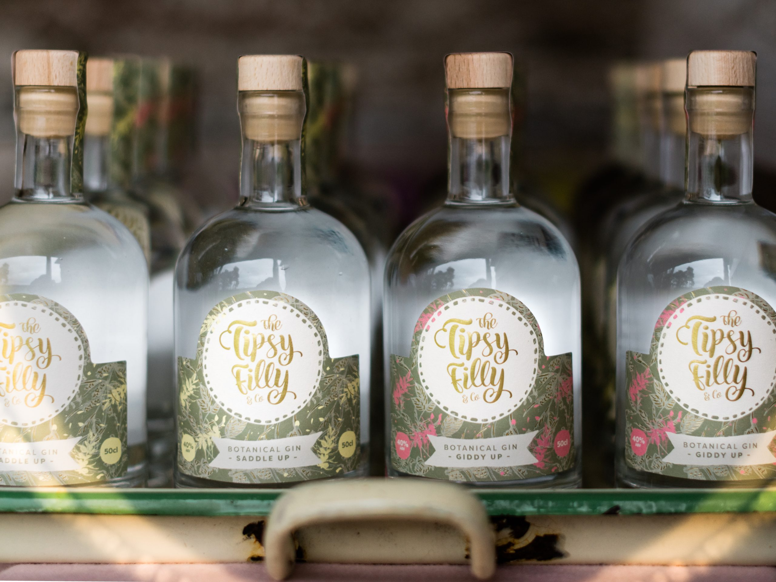 The Tipsy Filly Gin Bottle and Logo Design
